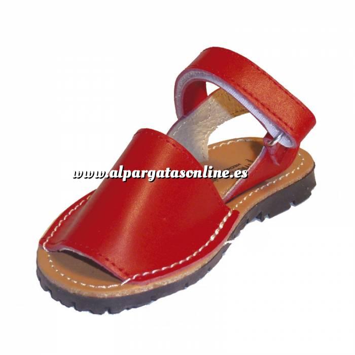 Imagen Roja Avarca - Menorquina piel niño Roja Talla 34