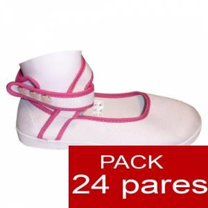 Modelos para Niños - Manoletinas NIÑO-NIÑA BLANCAS atadas al tobillo Caja de 24 pares (Últimas Unidades)
